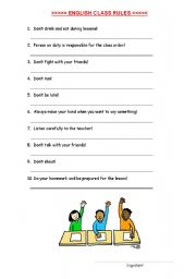 English Worksheets: ENGLISH CLASS RULES