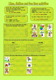 English Worksheet: Likes, dislikes and free time activities