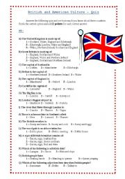 English Worksheet: UK and USA culture quiz