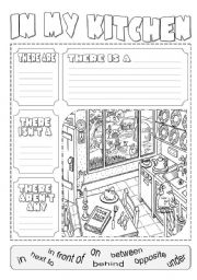 English Worksheet: In my kitchen there is ...