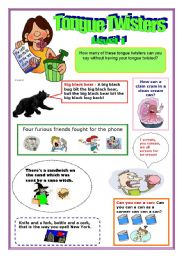 English Worksheets: Tongue Twisters!!! Level 1 (1/3)