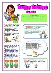 English Worksheets: Tongue Twisters!!! Level 2 (2/3)