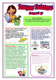 English Worksheet: Tongue Twisters!!!! Level 3 (3/3)