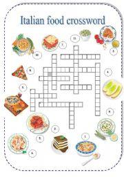 English Worksheet: Italian food crossword