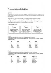 english worksheet syllable basics. Black Bedroom Furniture Sets. Home Design Ideas