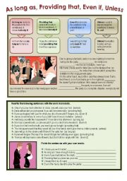 English Worksheet: As long as, providing that, even if, unless