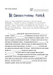 Mr. Garcia´s Holiday:  Past Tense Questions 1