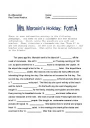 Mrs. Morosini´s Holiday:  Past Tense Questions 2