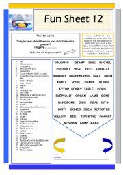 English Worksheets: Fun Sheet 12