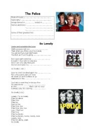 English Worksheets: So Lonely     The Police