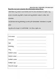 English Worksheets: READINGS+WRITINGS