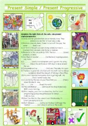 English Worksheets: present simple- present progressive