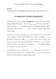 English worksheet: The Amish ( cloze test) - American Culture