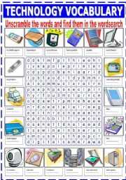 TECHNOLOGY VOCABULARY (UNSCRAMBLE AND WORDSEARCH)