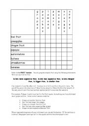 English Worksheet: Comparatives Game (Fruit theme)