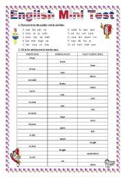 English Mini Test on Regular and Irregular Verbs