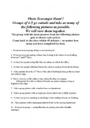 English Worksheet: Photo Scavenger Hunt