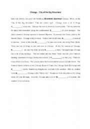 English Worksheet: Chicago - (cloze test)  American Culture
