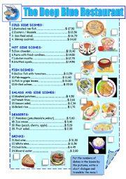 English Worksheet: sea food and fish restaurant menu
