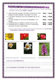English Worksheet: INTERNATIONAL WOMEN´S DAY -comprehension reading with exercises