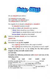 English worksheet: SHOULD