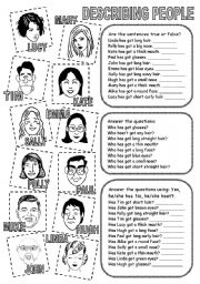 English Worksheet: DESCRIBING PEOPLE (2)