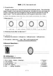 English Worksheets: Work sheet Unit 2