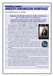 English Worksheet: Reading Comprehension - AMERICA�S SUBCONSCIOUS SOUNDTRACK