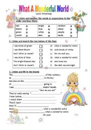 English Worksheet: What a Wonderful World