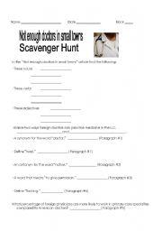 English Worksheets: Reading Comprehension Scavenger Hunt
