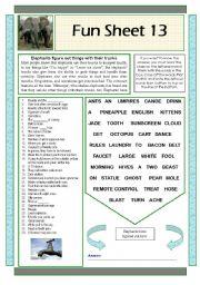 English Worksheets: Fun Sheet 13