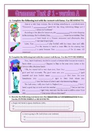 English Worksheet: Grammar Test # 1 - version A