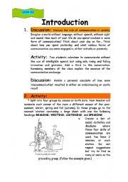 English Worksheets: Comunication Unit Lesson # 1