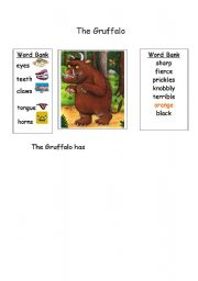 English Worksheet: Describing the Gruffalo