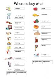 English Worksheet Where To Buy What