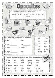 Worksheet English Activities For Beginners english teaching worksheets the opposites opposites