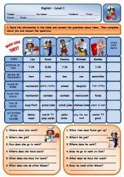 English Worksheets: TALKING ABOUT ROUTINES