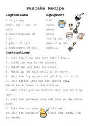 Intermediate esl worksheets pancake recipe english worksheet pancake recipe forumfinder Image collections