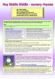 English Worksheets: About Hey Diddle Diddle - for grown-ups