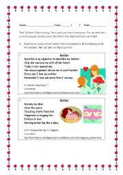 English Worksheet: mother�s poem