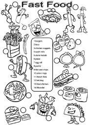 English Worksheet: Fast food BW version