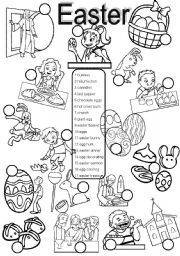 English Worksheets: Easter BW version