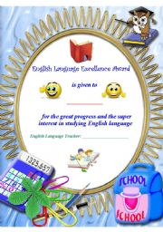 English Worksheet: Excellence Award