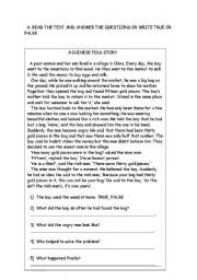 English Worksheets: answering comprehension questions about reading