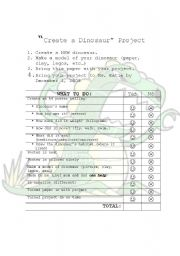 English Worksheets: Create a Dinosaur Project