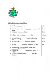 English Worksheet: Ecology prepositions