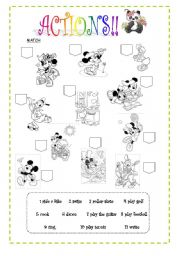 English Worksheets: actions match