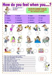 English Worksheets: How do you feel when you...? - Feelings adjectives