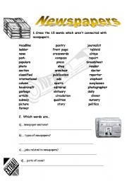 English Worksheet: NEWSPAPERS / MASS MEDIA ( 1/2)