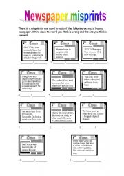 English Worksheet: NEWSPAPERS / MASS MEDIA (2/2)